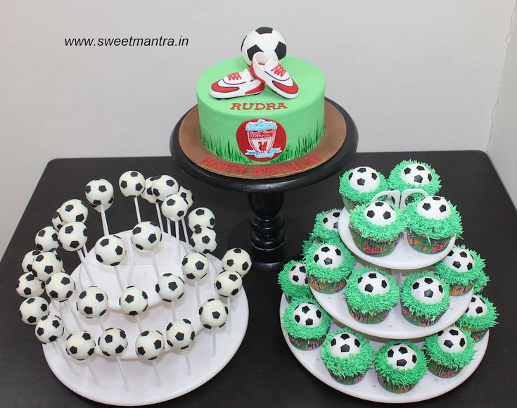 Football theme dessert/sugar tabe with designer cake, cupcakes, cake pops for boy's birthday at Pune