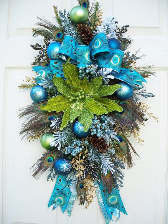 Timeless Peacock Christmas SwagWreath by timelesshomedecor on Etsy, $104.95