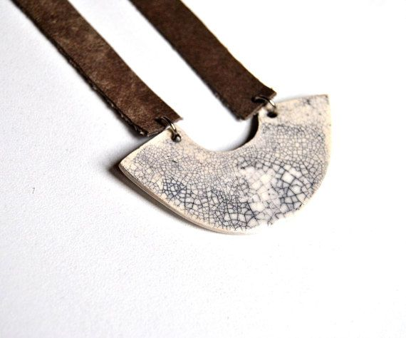 Ceramic necklace + leather craquelé black and white statement jewel, modern ceramic pendant by Arualceramics