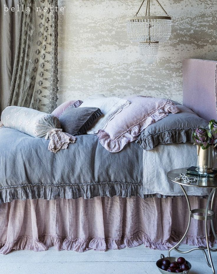 French Grey and Powder lavender luxury bedding from Bella Notte Linens