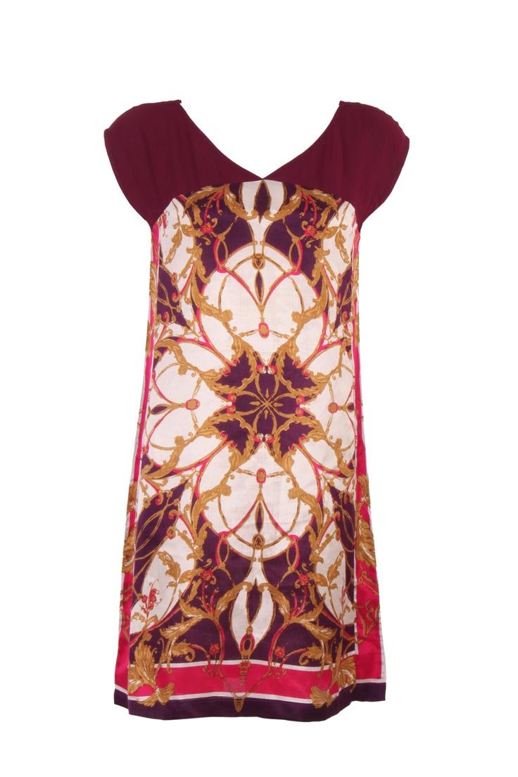 Purple Printed Kurta In Shantung; V Neck; Raglan Sleeve; 39 Inches In Length #Wishful #Clothing #Fashion #Style #Kurta #Wear #Colors #Apparel #Semiformal #Print #Casuals #W for #Woman