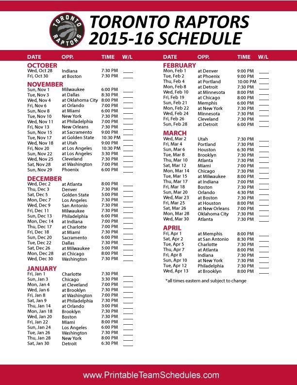 Toronto Raptors 2015-16 Schedule Printable version here ...