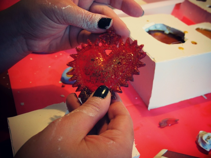 One of our crowned hearts in process.   #kingofhearts #pendant #necklace #limperatrice #jewelry #resin