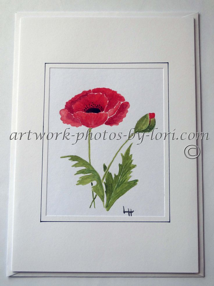 HAND PAINTED WATERCOLOUR NOTELET OF A POPPY