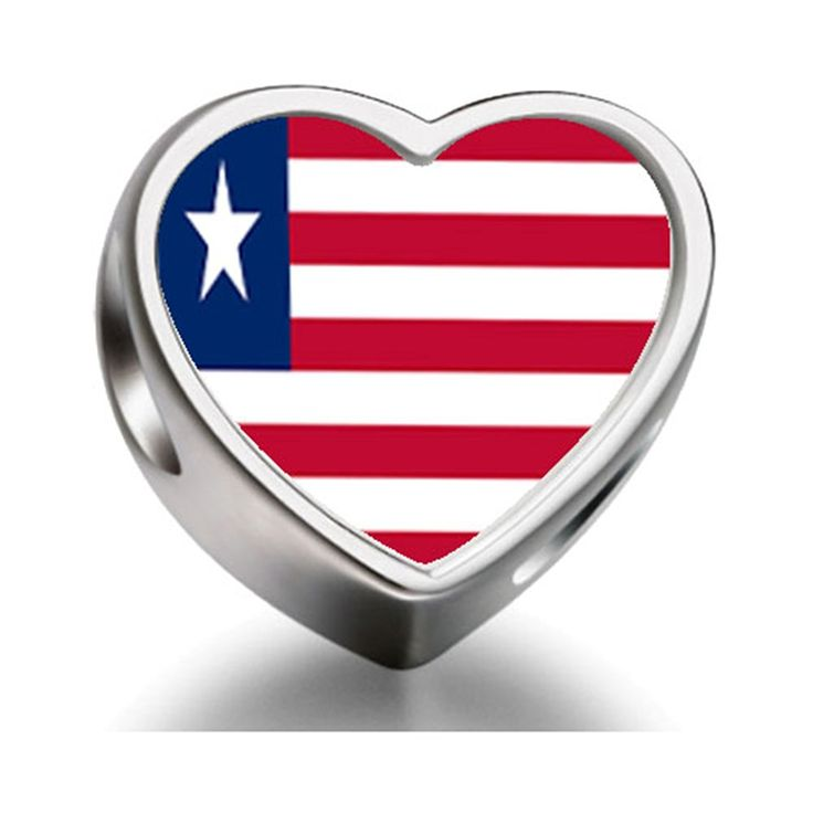 Bracelet Charm Bead Liberia flag Heart Sterling Silver Charm Beads Biagi beads European Charms Bracelets >>> Check this useful article by going to the link at the image. #Charms