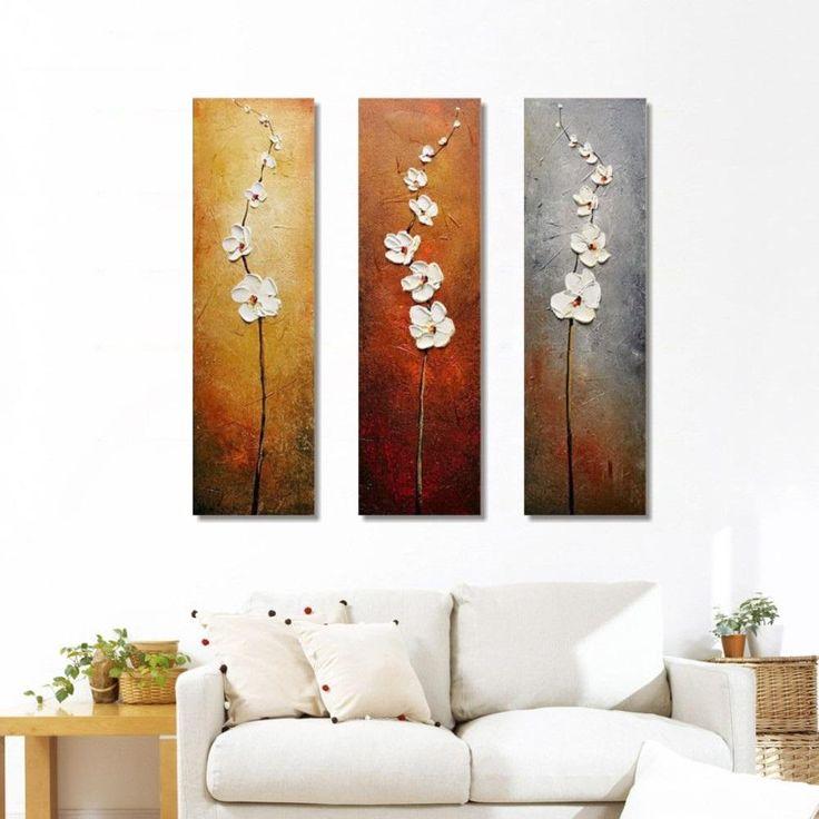 vertical white flowers hq 3piece owlcube canvas wall art