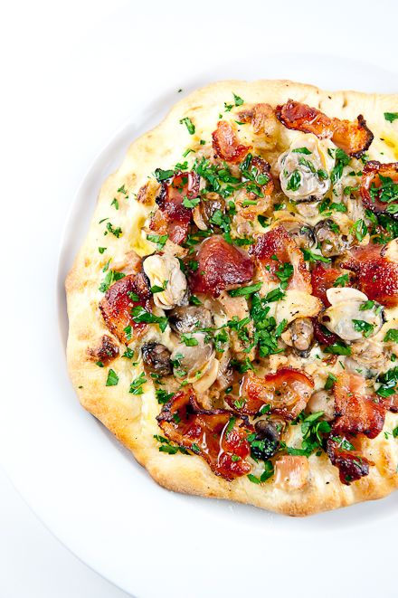 Bacon and Clam Pizza (need to make this! I would buy the fresh chopped clams from the Wegmans seafood counter.  One of the comments has great idea about making the pizza with the broiler too. And I already know that Jim Lehey's recipe is excellent)