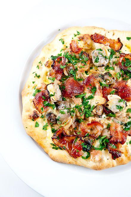 Bacon & Clams PizzaPizza Recipe, Bacon Clams Pizza, Bacon Recipes, Pizza Pizza,  Pizza Pies, Bacon Pizza, Can Of Clams Recipe, Pizza Dough, Clams Chowders