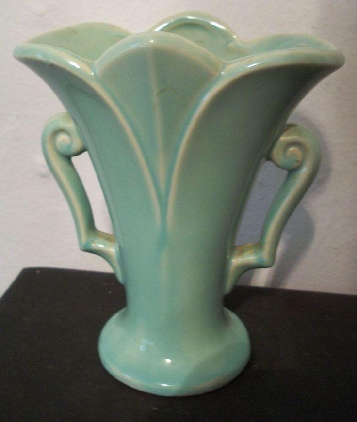 "Mint Green Vintage USA McCoy Vase Double Handles 7"" Excellent Vintage Color"