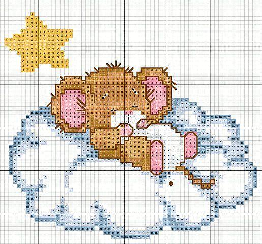 Buonanotte topolino animali baby punto croce