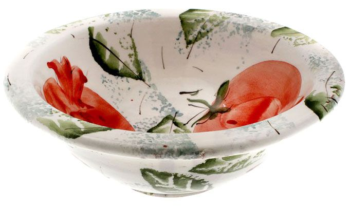 Bowl motifs by a mansion -   Created by Eleni Kanellopoulou and inspired by the  painted decoration of a late 18th - early 19th century  chest from Mytilini.      Hand-painted ceramic     Dimensions: Diam. 26 cm