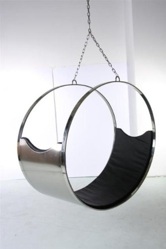 Really unusual very modern hanging chair trimmed in Italian leather
