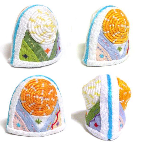 Korea Traditional Sewing Quilting Vintage Unique Collect White-Orange K Thimble  http://www.etsy.com/shop/rimkimstudio