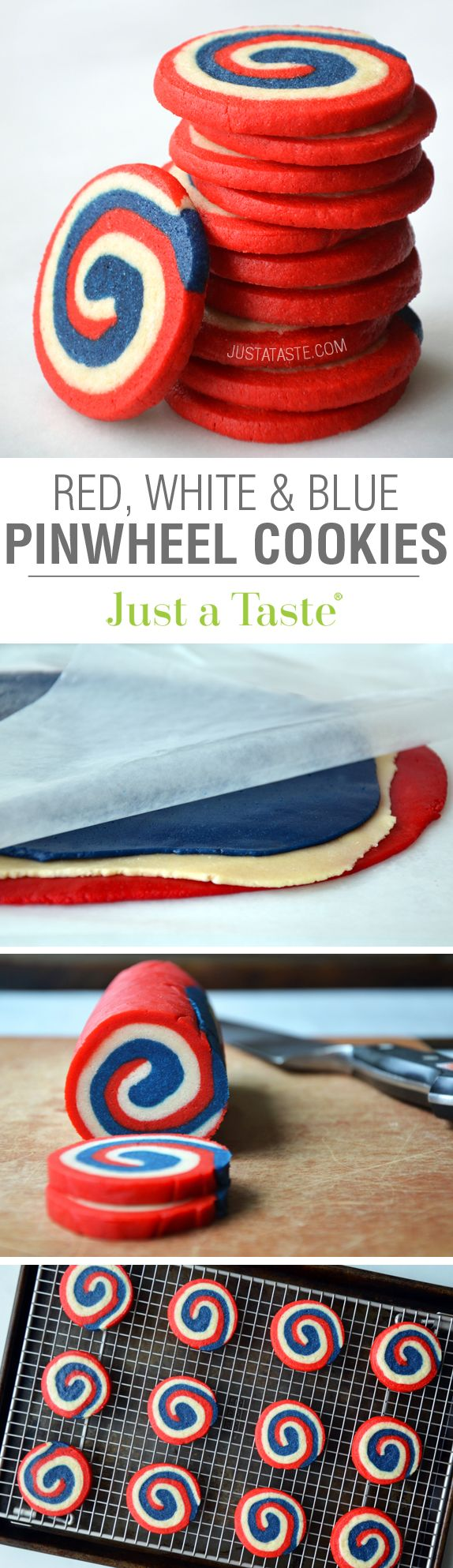 Red, White & Blue Pinwheel Icebox Cookies #recipe on justataste.com