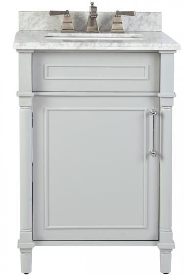 "$479.00. Carrara marble top and matching backsplash. White and Dove Grey options. Aberdeen 24"" Single Vanity - Single Bath Vanity | HomeDecorators.com"