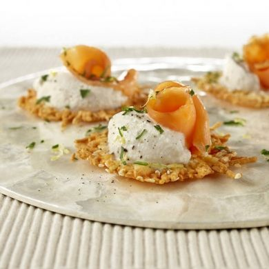 Parmesan Crisps with Smoked Salmon   - now that 4/5 of us in the house eat Smoked Salmon, it's time to get wild. Paige can just watch us.
