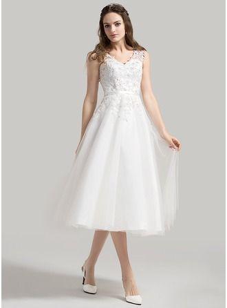 Robe Princesse Col V Longueur mollet Tulle Robe de mariée avec Brodé Motifs appliqués Dentelle Paillettes