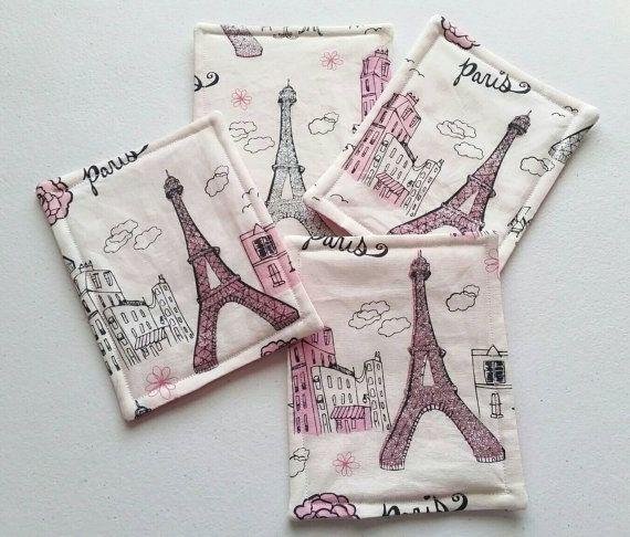 Handmade Set Of Four Fabric Coasters Paris Eiffel Tower