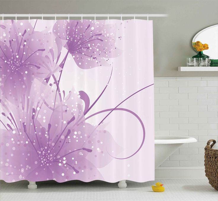 """Purple Shower Curtain Vector Flowers Butterfly Print for Bathroom 84"""" Extralong #Ambesonne"""