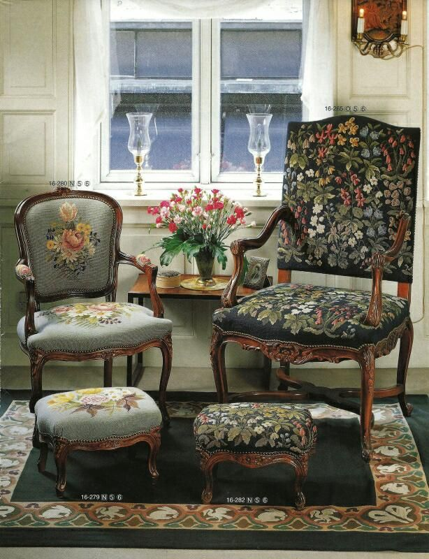 Needlepoint: romantic and classic chairs