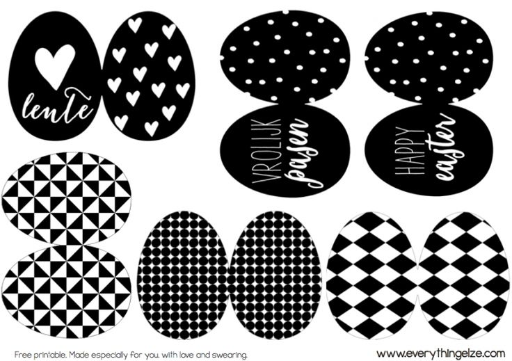 Scandinavian Nordic Easter Decoration. Free black and white printable by EverythingElze