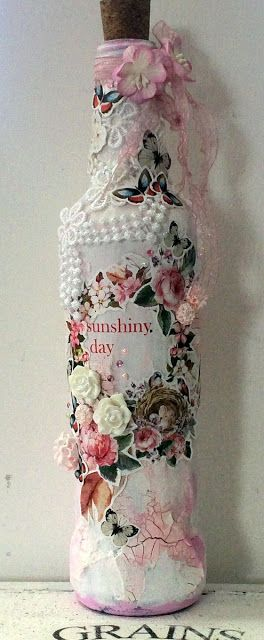 ScrapBerry's: Awesome mixed media and romantic altered bottle with flowers and butterflies by Solange Marques