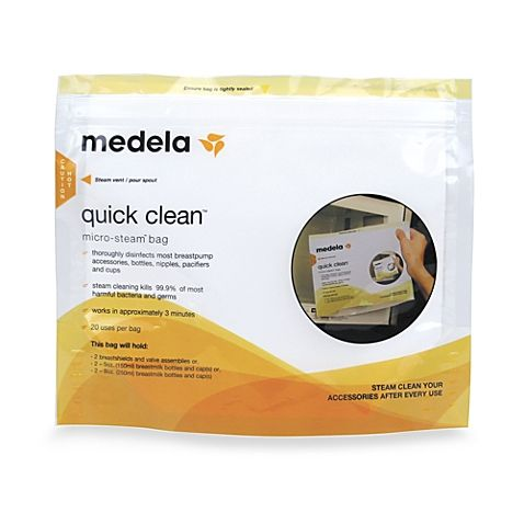 Quick Clean Micro-Steam Bags from Medela work in just 3 minutes. Steam cleaning eliminates germs on breastpump, accessories, bottles, nipples, and more.