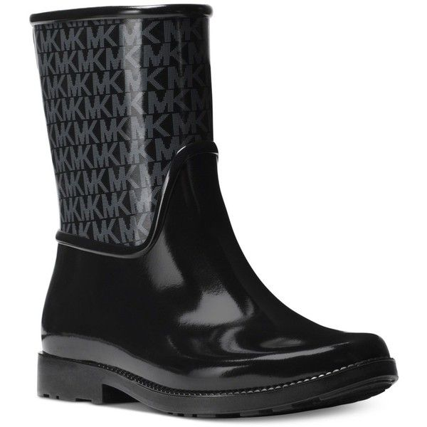 Michael Michael Kors Sutter Rain Boots ($79) ❤ liked on Polyvore featuring shoes, boots, black, michael kors, michael kors boots, black shoes, black rain boots and kohl shoes