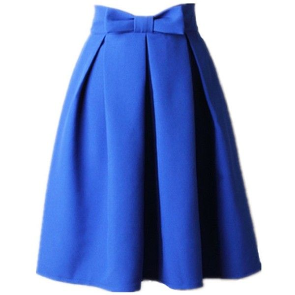 Women's A Line Pleated Vintage Skirt High Waist Midi Skater with Bow... (150 SEK) ❤ liked on Polyvore featuring skirts, a line skirt, high-waisted skirts, a line midi skirt, high-waist skirt and pleated skirt