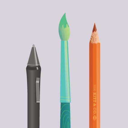 Vector mark making tools by Kitt Byrne  #vector #pen #pens #pencil #wacom #realist #illustration #illustrated #digital #diagram #artmaterials #art #materials #pastel