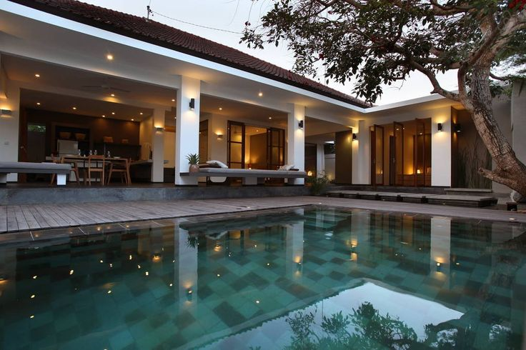 House in Kuta, Indonesia.  In the heart of vibrant Seminyak, spacious, amazing minimalist Villa with large living room and dining room, open to the pool deck.  «Endless edge» overflow pool 30 m squared  Living space 250 m squared.  3 large bedrooms with eachof the 3 bedr...