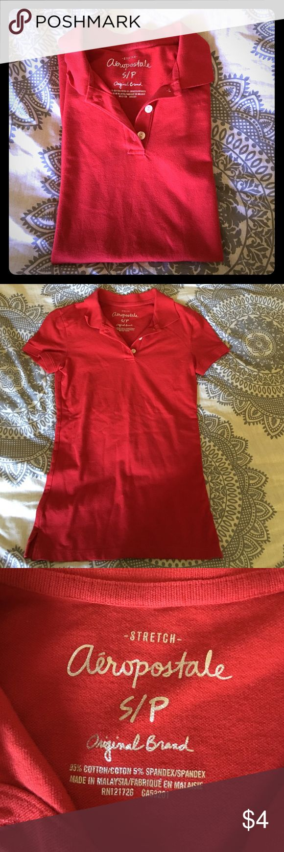 Red Aeropostale polo Barely used red polo. Still looks new, only worn once or twice to an interview! No rips or fading! Aeropostale Tops Tees - Short Sleeve