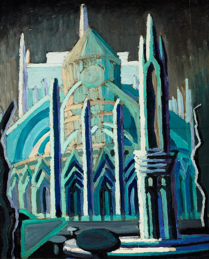 "Heward met Isabel McLaughlin while living in Paris and the two became lifelong friends. McLaughlin, ""Study for l'Abside de Notre Dame,"" c. 1929, Robert McLaughlin Gallery."