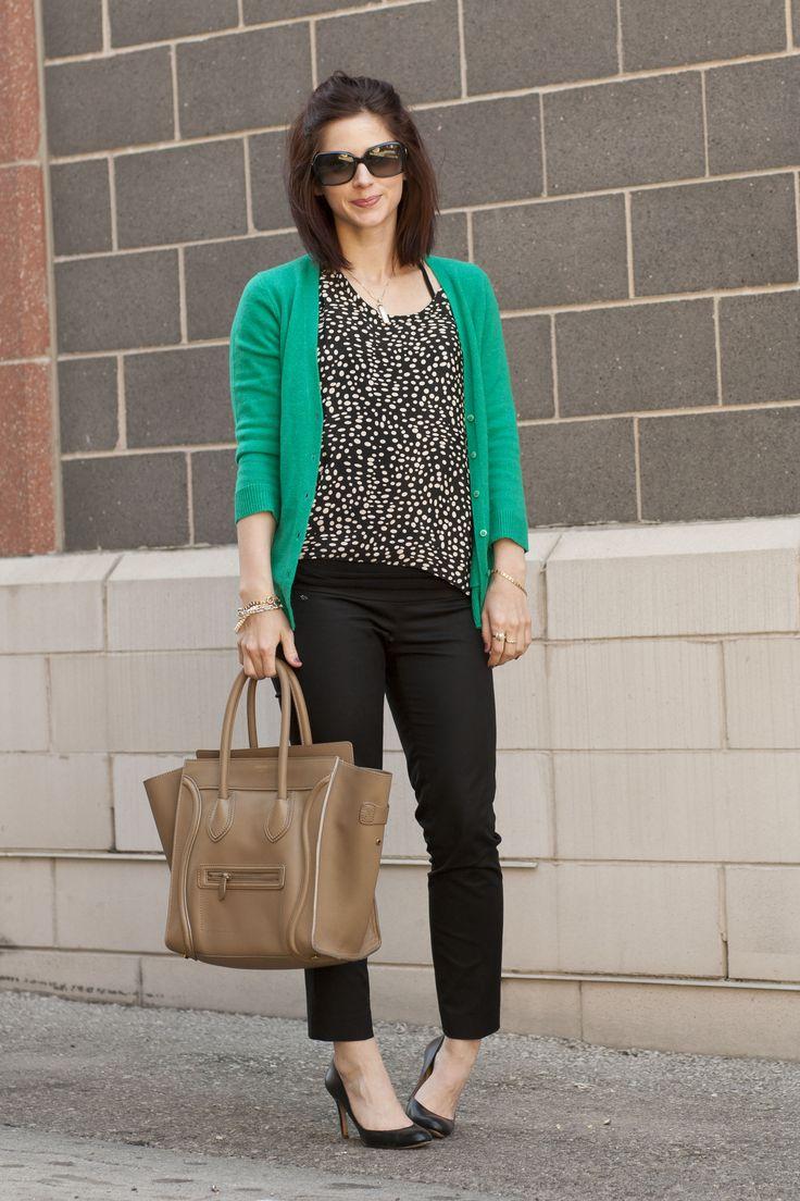Jade green cardigan, polka dot shirt, black skinny pants