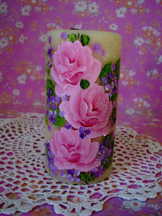 Pillar Candle Hand Painted Pink Roses French Vanilla Scented