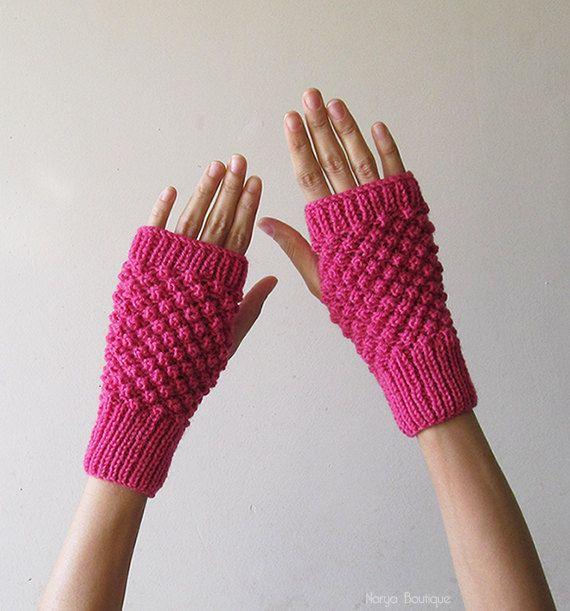 Hand Knit Fingerless Gloves in Orchid Pink  Trinity Stitch