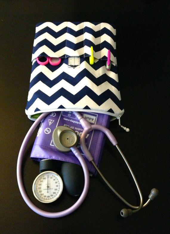 chevron NURSE PURSE stethoscope bag and BP case  by LoveAmarie