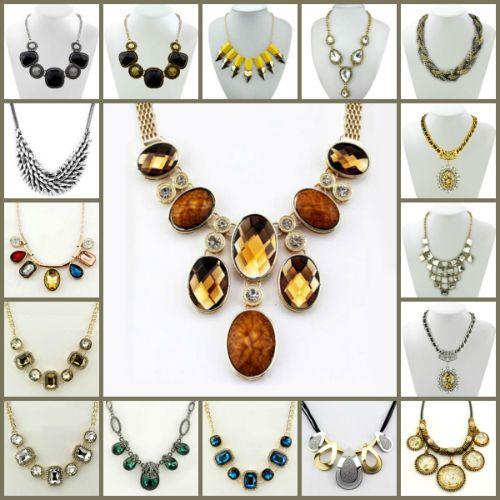 New Design Rhinestone Crystal Bib Choker Collar Coral Statement Necklaces Women