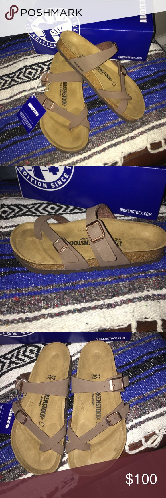 Birkenstock Mayari- Mocha Brand new, still have tags & original box. Beautiful Mocha colored Birkenstock's! Perfect for summer and the festival scene! Super cute toe strap with this Mayari style! Women's size 6 (wide), but keep in mind, Birkenstock's tend to run on the big side so be sure 6 is your ideal size if you're interested in buying! 😊 Birkenstock Shoes Sandals