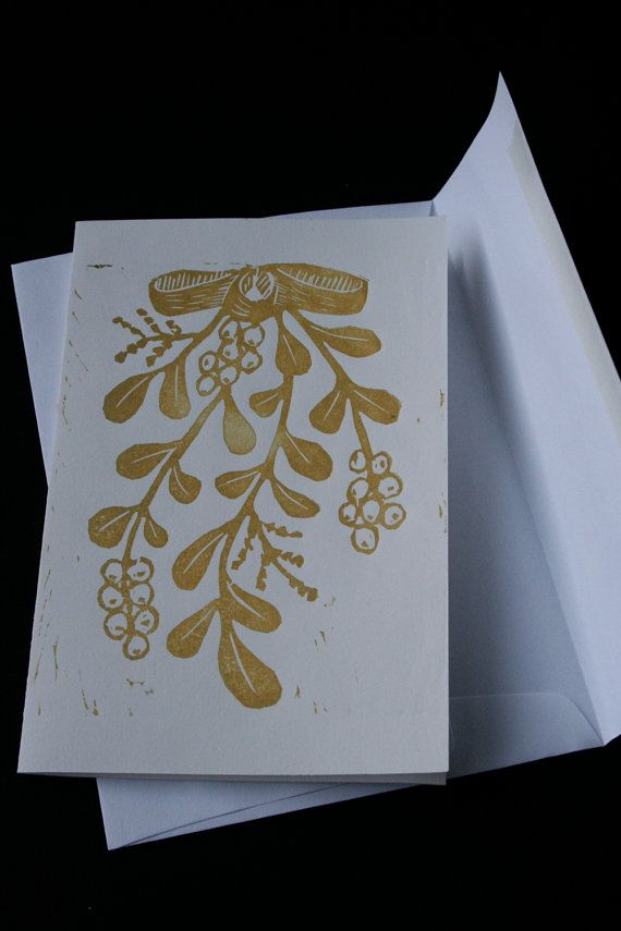 Handmade Mistletoe cards -- set of 5, gold