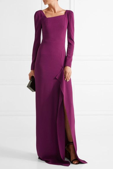 Roland Mouret - Lely Stretch-crepe Gown - Plum - UK10