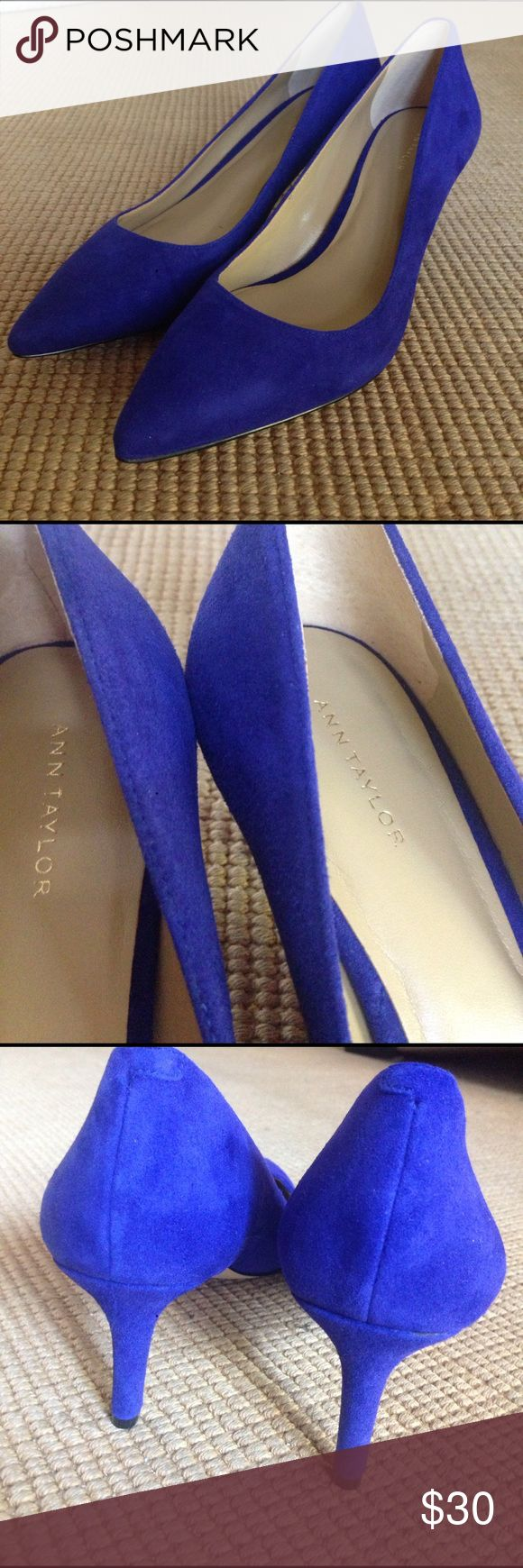 Ann Taylor (not Loft) Blue suede pumps 7 New, never worn, will arrive in the original box- gorgeous shoes, unfortunately I can't wear heels anymore Ann Taylor Shoes Heels