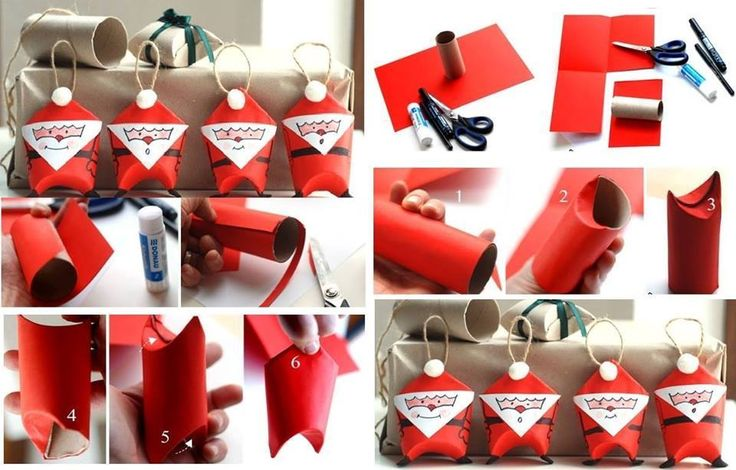 East way to reuse toilet paper rolls and make cute little Christmas decorations