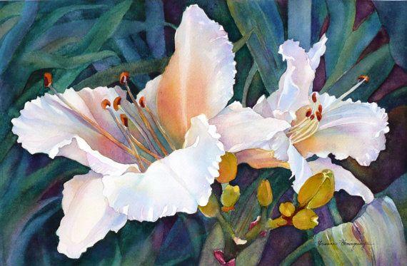 """Dipinto di bianco gigli-originale acquerello dipinto """"Tower Hill Gigli"""" - gigli bianchi su sfondo verde-parete arredamento per gli amanti del fiore"""