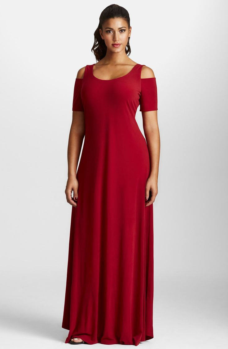 Mynt 1792 Cold Shoulder Maxi Dress (Plus Size)