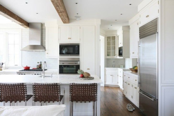 Country Types White Kitchen With Creative Handmade Metal Stools That Have Brown Rattan Back Space And Contemporary White Island