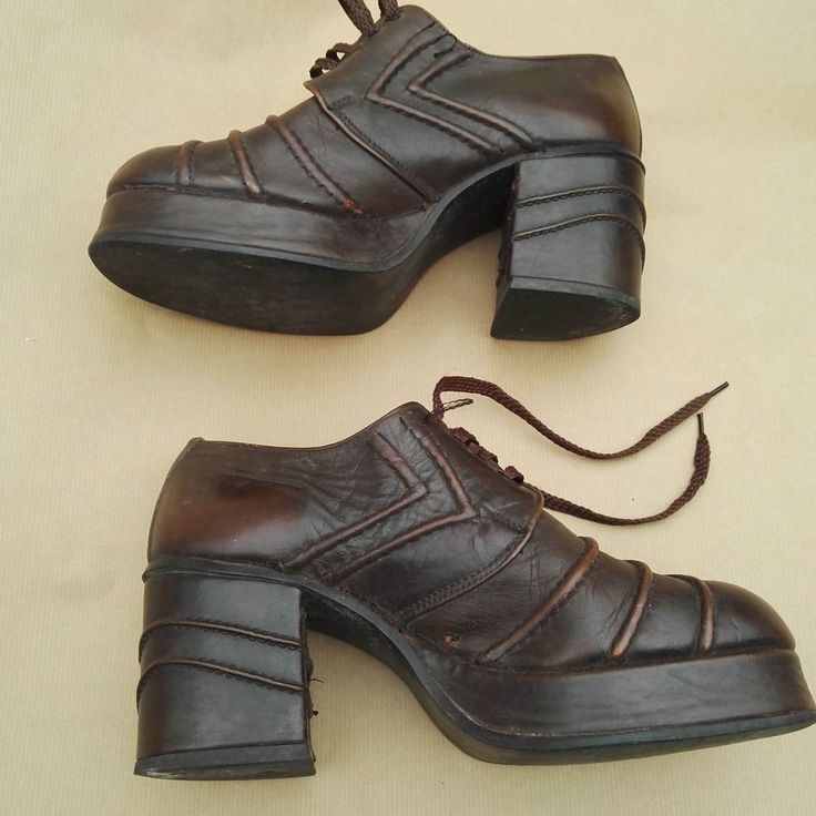 1970 s Platform Shoes men s True Vintage Brown, by Dolcis, Jade Size 7