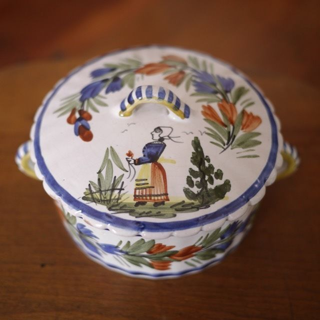 Antique Henriot Quimper French Faience Pottery Breton