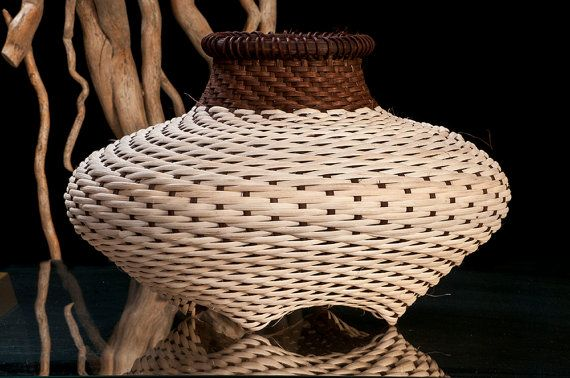 Woven Basket - Small Cat Head Shape This unique basket is designed in the cat head shape and is one of my contemporary art creations. I shape it by