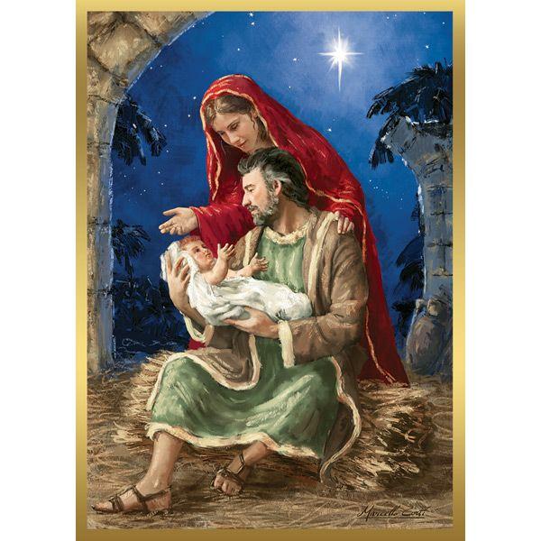 Holy Family Admires Jesus Nativity Religious Christmas: REJOICING HOLY FAMILY CHRISTMAS CARDS